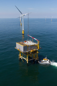 Boat transfer to substation in offshore windfarm